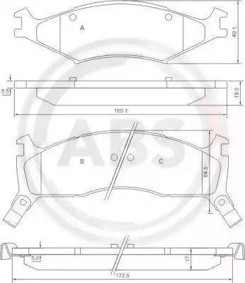 A.B.S. 37043 - Kit de plaquettes de frein, frein à disque www.widencarpieces.com
