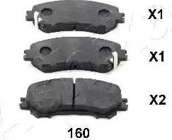 Ashika 50-01-160 - Kit de plaquettes de frein, frein à disque www.widencarpieces.com
