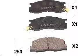 Ashika 50-02-259 - Kit de plaquettes de frein, frein à disque www.widencarpieces.com