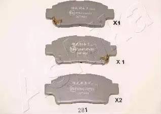 Ashika 50-02-281 - Kit de plaquettes de frein, frein à disque www.widencarpieces.com
