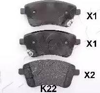 Ashika 50-0K-K22 - Kit de plaquettes de frein, frein à disque www.widencarpieces.com