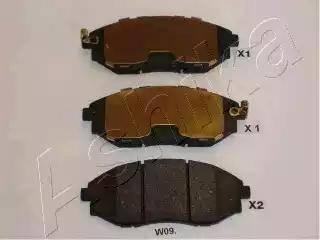 Ashika 50-0W-W09 - Kit de plaquettes de frein, frein à disque www.widencarpieces.com