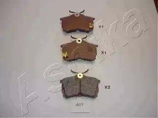 Ashika 51-04-407 - Kit de plaquettes de frein, frein à disque www.widencarpieces.com