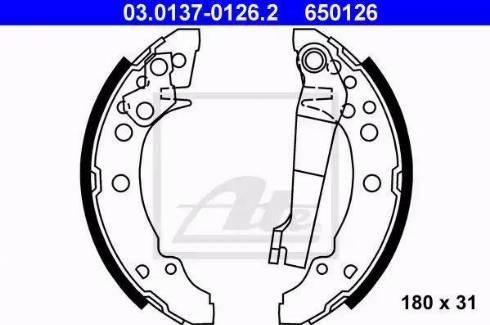 ATE 03.0137-0126.2 - Jeu de freins, freins à tambour www.widencarpieces.com