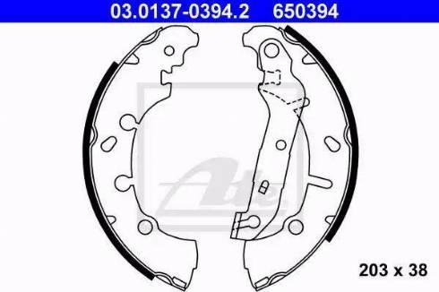 ATE 03.0137-0394.2 - Jeu de freins, freins à tambour www.widencarpieces.com