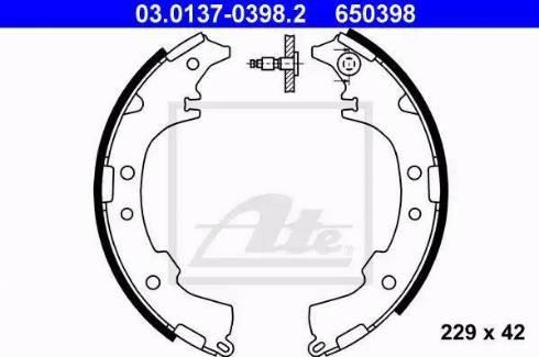ATE 03.0137-0398.2 - Jeu de freins, freins à tambour www.widencarpieces.com