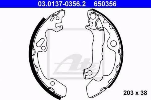 ATE 03.0137-0356.2 - Jeu de freins, freins à tambour www.widencarpieces.com