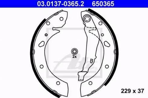 ATE 03.0137-0365.2 - Jeu de freins, freins à tambour www.widencarpieces.com