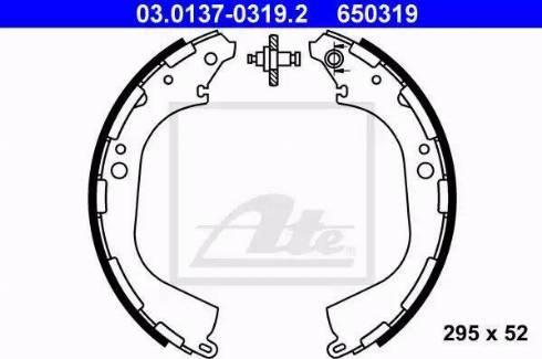 ATE 03.0137-0319.2 - Jeu de freins, freins à tambour www.widencarpieces.com