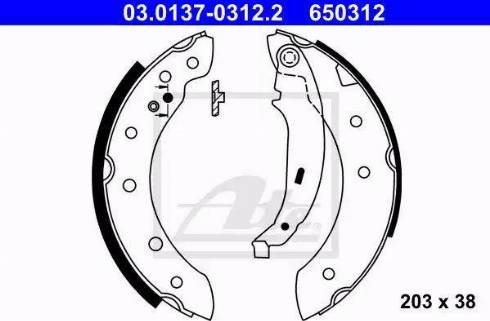 ATE 03.0137-0312.2 - Jeu de freins, freins à tambour www.widencarpieces.com