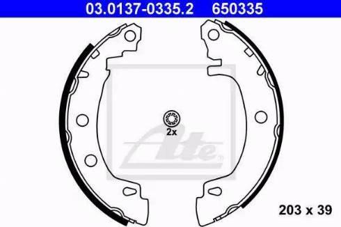 ATE 03.0137-0335.2 - Jeu de freins, freins à tambour www.widencarpieces.com