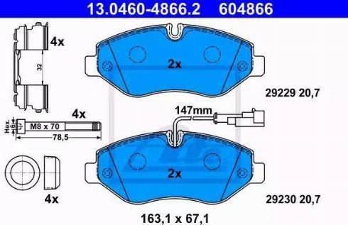 ATE 13.0460-4866.2 - Kit de plaquettes de frein, frein à disque www.widencarpieces.com
