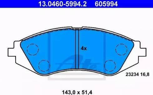 ATE 13.0460-5994.2 - Kit de plaquettes de frein, frein à disque www.widencarpieces.com