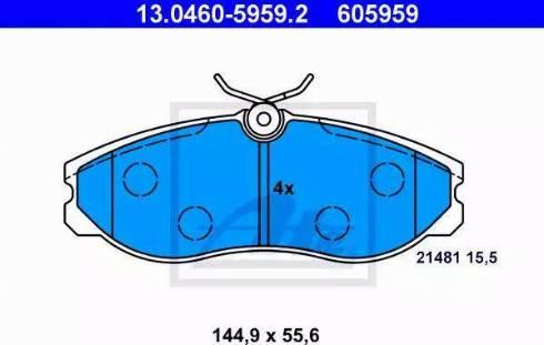 ATE 13.0460-5959.2 - Kit de plaquettes de frein, frein à disque www.widencarpieces.com