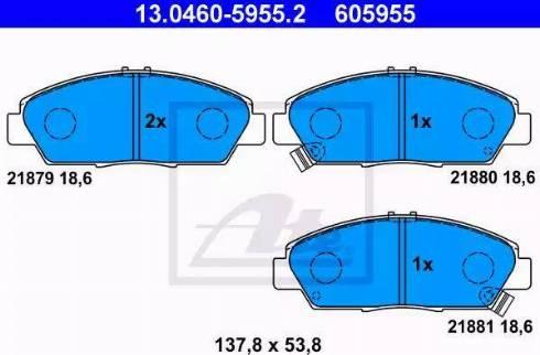 ATE 13.0460-5955.2 - Kit de plaquettes de frein, frein à disque www.widencarpieces.com