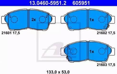 ATE 13.0460-5951.2 - Kit de plaquettes de frein, frein à disque www.widencarpieces.com