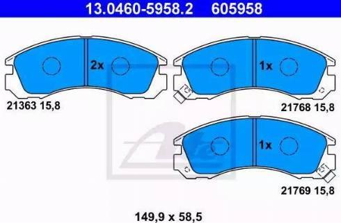 ATE 13.0460-5958.2 - Kit de plaquettes de frein, frein à disque www.widencarpieces.com