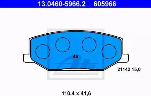 ATE 13.0460-5966.2 - Kit de plaquettes de frein, frein à disque www.widencarpieces.com