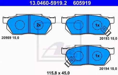 ATE 13.0460-5919.2 - Kit de plaquettes de frein, frein à disque www.widencarpieces.com
