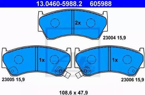 ATE 13.0460-5988.2 - Kit de plaquettes de frein, frein à disque www.widencarpieces.com
