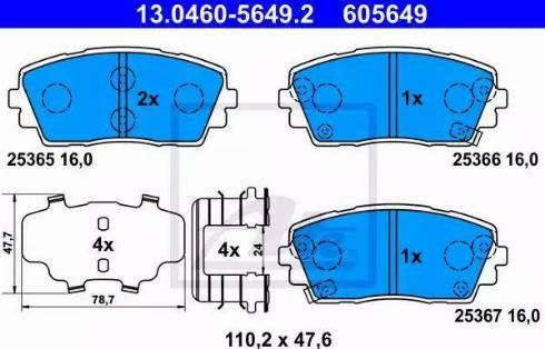 ATE 13.0460-5649.2 - Kit de plaquettes de frein, frein à disque www.widencarpieces.com