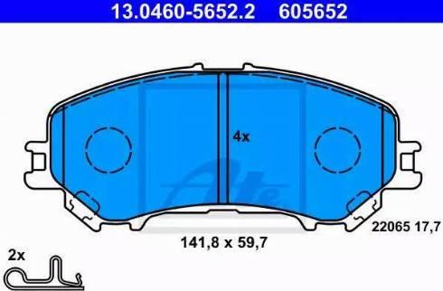 ATE 13.0460-5652.2 - Kit de plaquettes de frein, frein à disque www.widencarpieces.com