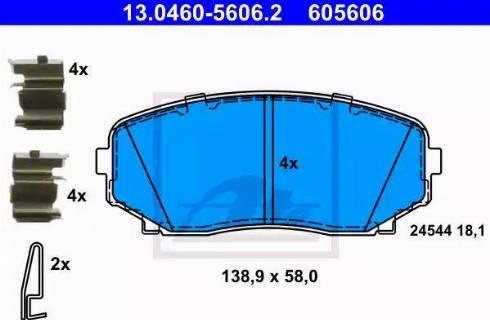 ATE 13.0460-5606.2 - Kit de plaquettes de frein, frein à disque www.widencarpieces.com