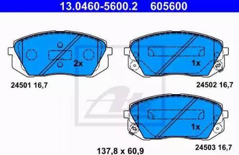 ATE 13.0460-5600.2 - Kit de plaquettes de frein, frein à disque www.widencarpieces.com