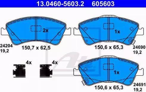 ATE 13.0460-5603.2 - Kit de plaquettes de frein, frein à disque www.widencarpieces.com