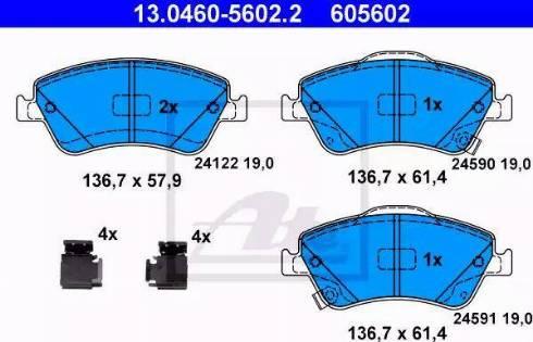 ATE 13.0460-5602.2 - Kit de plaquettes de frein, frein à disque www.widencarpieces.com