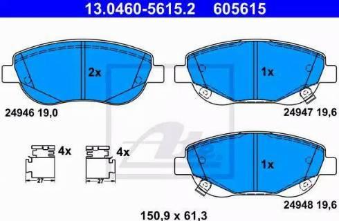 ATE 13.0460-5615.2 - Kit de plaquettes de frein, frein à disque www.widencarpieces.com