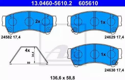 ATE 13.0460-5610.2 - Kit de plaquettes de frein, frein à disque www.widencarpieces.com