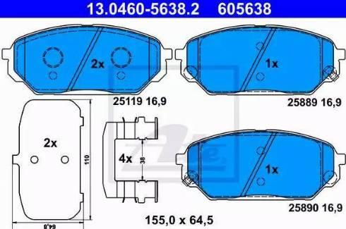 ATE 13.0460-5638.2 - Kit de plaquettes de frein, frein à disque www.widencarpieces.com