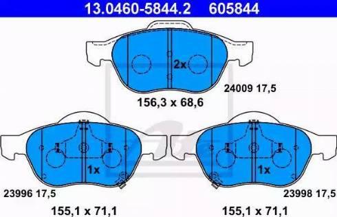 ATE 13.0460-5844.2 - Kit de plaquettes de frein, frein à disque www.widencarpieces.com