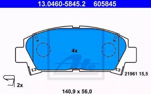 ATE 13.0460-5845.2 - Kit de plaquettes de frein, frein à disque www.widencarpieces.com