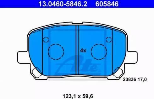 ATE 13.0460-5846.2 - Kit de plaquettes de frein, frein à disque www.widencarpieces.com