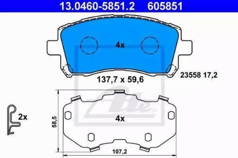 ATE 13.0460-5851.2 - Kit de plaquettes de frein, frein à disque www.widencarpieces.com