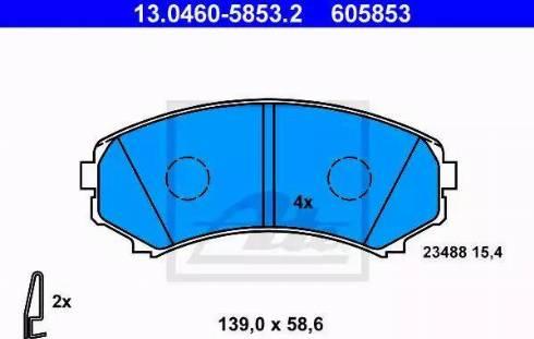 ATE 13.0460-5853.2 - Kit de plaquettes de frein, frein à disque www.widencarpieces.com