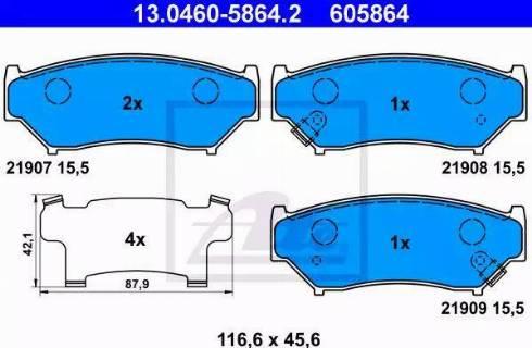 ATE 13.0460-5864.2 - Kit de plaquettes de frein, frein à disque www.widencarpieces.com