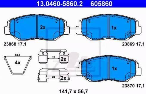 ATE 13.0460-5860.2 - Kit de plaquettes de frein, frein à disque www.widencarpieces.com