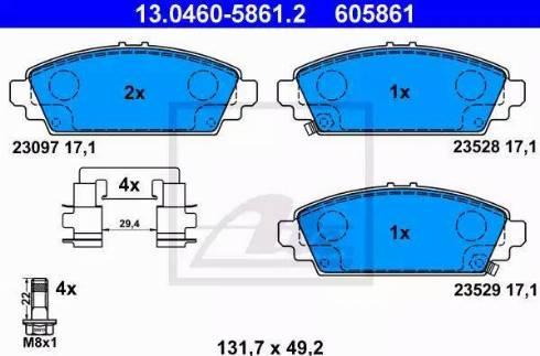 ATE 13.0460-5861.2 - Kit de plaquettes de frein, frein à disque www.widencarpieces.com