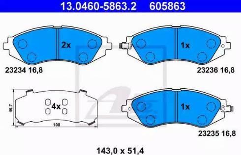 ATE 13.0460-5863.2 - Kit de plaquettes de frein, frein à disque www.widencarpieces.com