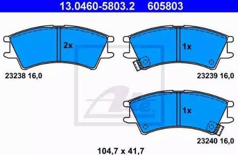 ATE 13.0460-5803.2 - Kit de plaquettes de frein, frein à disque www.widencarpieces.com