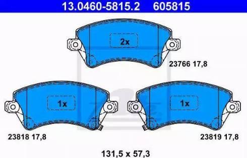 ATE 13.0460-5815.2 - Kit de plaquettes de frein, frein à disque www.widencarpieces.com