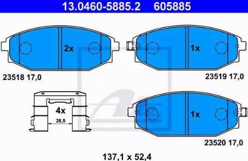 ATE 13.0460-5885.2 - Kit de plaquettes de frein, frein à disque www.widencarpieces.com