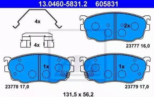 ATE 13.0460-5831.2 - Kit de plaquettes de frein, frein à disque www.widencarpieces.com