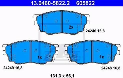 ATE 13.0460-5822.2 - Kit de plaquettes de frein, frein à disque www.widencarpieces.com