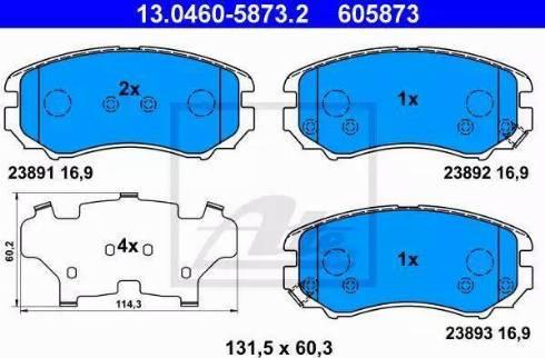 ATE 13.0460-5873.2 - Kit de plaquettes de frein, frein à disque www.widencarpieces.com
