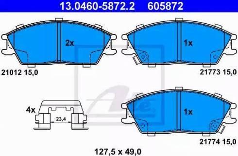 ATE 13.0460-5872.2 - Kit de plaquettes de frein, frein à disque www.widencarpieces.com