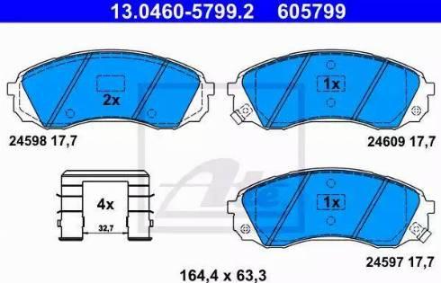 ATE 13.0460-5799.2 - Kit de plaquettes de frein, frein à disque www.widencarpieces.com